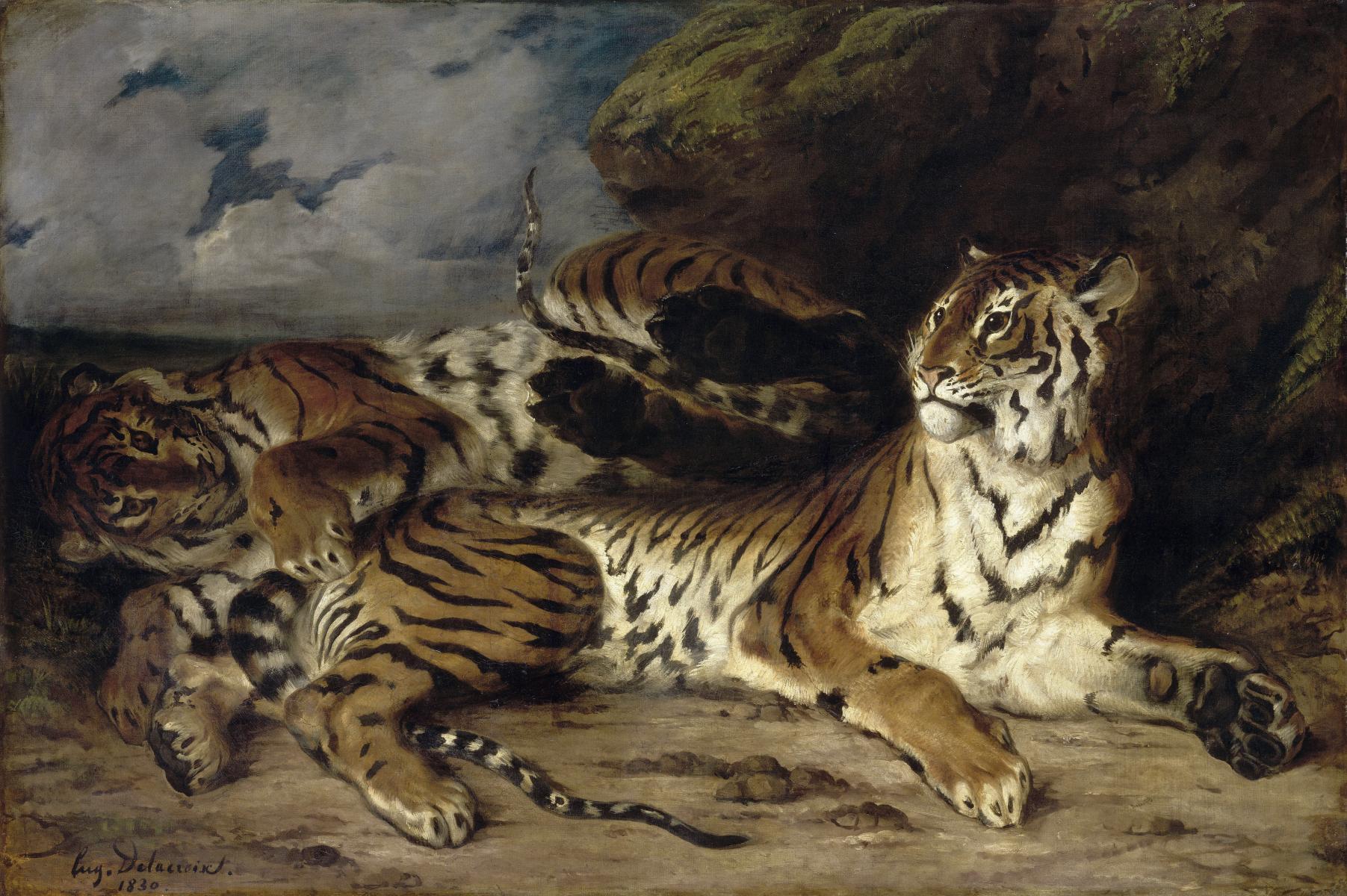 Eugène Delacroix – Jeune tigre jouant avec sa mère (Tigre joven jugando con su madre), 1830-31. Óleo sobre lienzo. 131 x 194,5 cm. Musée du Louvre, Paris. © Musée du Louvre.