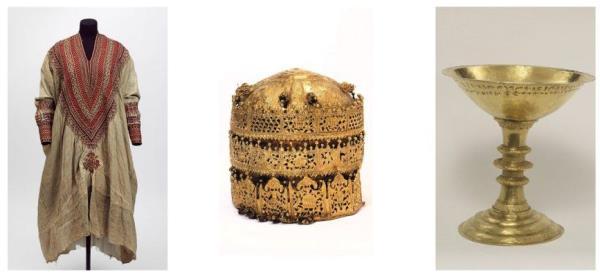 Arqueología. Arte expoliado. De izquierda a derecha: 1.- Vestido de la reina Woyzaro Terunesh, esposa de Teodoro II. 2.- Corona del rey Teodoro II de Etiopía. 3.- Cáliz de oro con inscripción incisa. © Victoria and Albert Museum, Londres.