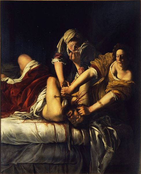 Artemisia Lomi Gentileschi - Judit decapitando a Holofernes (1614-20). Óleo sobre lienzo, 199 × 162 cm Galleria degli Uffizi, Florencia.