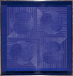 Eusebio Sempere – Yan-Yin azul, 1971. Gouache sobre tabla. 63,5 x 61,5 cm. Museo Reina Sofía.