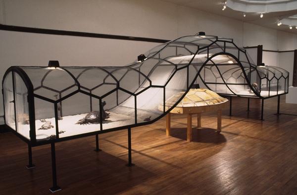 Huang Yong Ping - Theater of the World (El teatro del mundo), 1993. Estructura de madera y metal con lámparas de calor, cable eléctrico, insectos (arañas, escorpiones, grillos, cucarachas, escarabajos negros, insectos palo, ciempiés), lagartos, sapos y serpientes, 150 × 170 × 265 cm en total. Cortesía del artista. Vista de la instalación en 1 & 108, Akademie Schloss Solitude, Stuttgart, 12 de octubre-14 de noviembre, 1993.