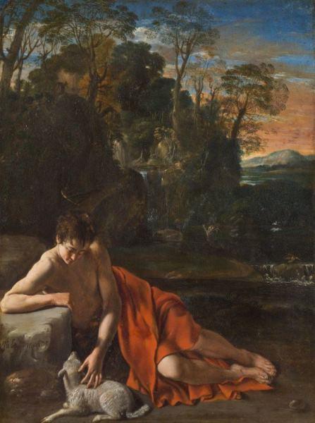 Juan Bautista Maíno - San Juan Bautista en un paisaje, h. 1610. Óleo sobre cobre. 20 x 12 cm. Museo Nacional del Prado.