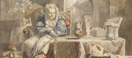 Luis Paret - Una celestina y los enamorados, 1784. Detalle. Acuarela sobre papel. Museo Nacional del Prado.