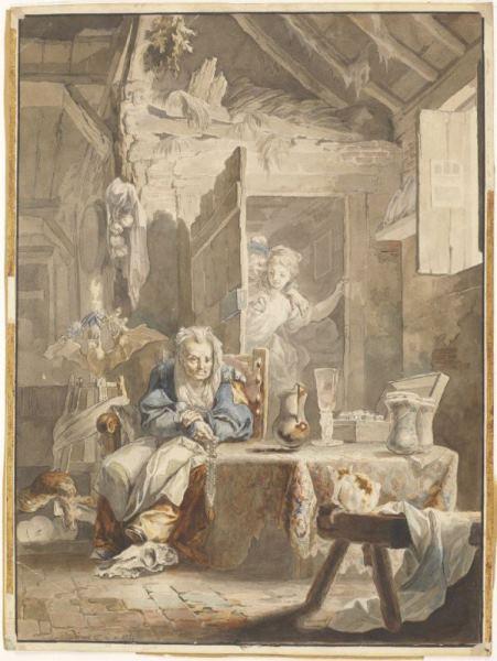 Luis Paret - Una celestina y los enamorados, 1784. Acuarela sobre papel. Museo Nacional del Prado.