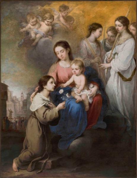 Bartolomé Esteban Murillo (1618-1682) - La Virgen y El Niño con Santa Rosa de Palermo, ha. 1670. Óleo sobre lienzo. 190 x 147 cm. Museo Thyssen-Bornemisza, Madrid.
