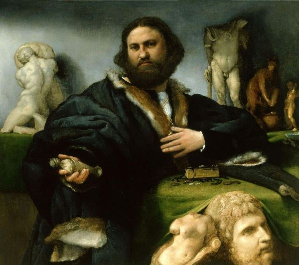 Lorenzo Lotto - Andrea Odoni, 1527. Óleo sobre lienzo. 104,6 x 116,6 cm. Londres, Hampton Court, The Royal Collection, Lent by Her Majesty the Queen.