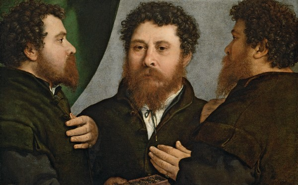 Lorenzo Lotto - Retrato triple de un orfebre (¿Bartolomeo Carpan?) h 1525 - 1535. Óleo sobre lienzo. 52 x 79 cm. Viena, Kunsthistorisches Museum, Gemäldegalerie.