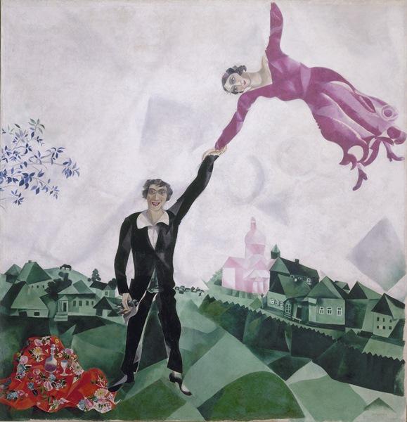 Marc Chagall - Paseo (Promenade), 1917-18. Óleo sobre lienzo. 170 x 163,5 cm. Museo Estatal Ruso, San Petersburgo. © Marc Chagall, Vegap, Bilbao 2018.