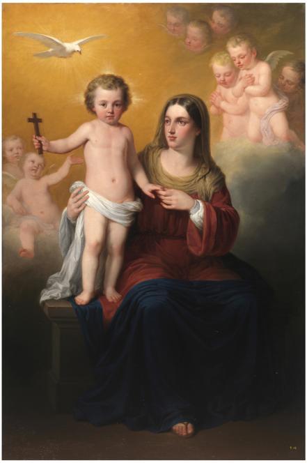 Antonio María Esquivel - La Virgen María, el niño Jesús y el Espíritu Santo con ángeles en el fondo, 1856. Óleo sobre lienzo. 173,2 x 114,5 cm. Museo Nacional del Prado.
