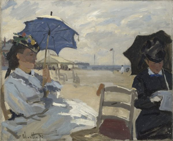 Claude Monet - La playa en Trouville, 1870. Óleo sobre lienzo. 38 x 46,5 cm. © The National Gallery, London. Bought, Courtauld Fund, 1924.