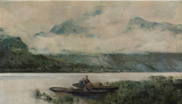 Eliseo Meifrén - Lago de Como, h. 1895. Óleo sobre lienzo, 128 x 201 cm. Lago de Como (Lombardía, Italia). Participó en la Exposición Nacional de 1895 (no710) en la que recibió una Condecoración de la muestra.