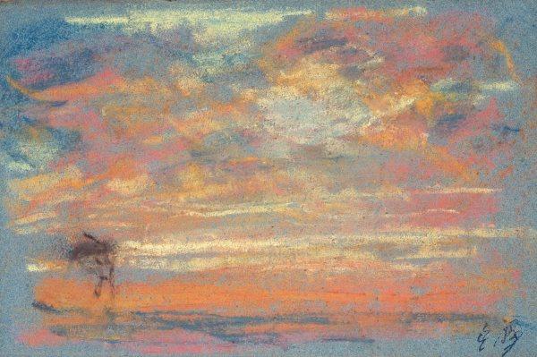 Eugène Boudin - Estudio de cielo, c. 1860. Pastel sobre papel. 135 x 205 mm. © Colección Pérez Simón, México.