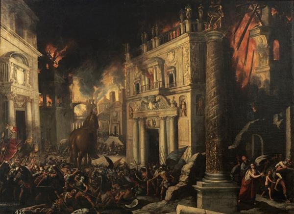Francisco Collantes - El incendio de Troya, siglo XVIII. © Museo Nacional del Prado.