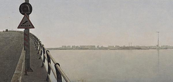 Hernán Cortés Moreno - Puente sobre la Bahía de Cádiz (boceto), 1993. Óleo/cartón. Colección particular Juan M. González de las Cuevas (Madrid).