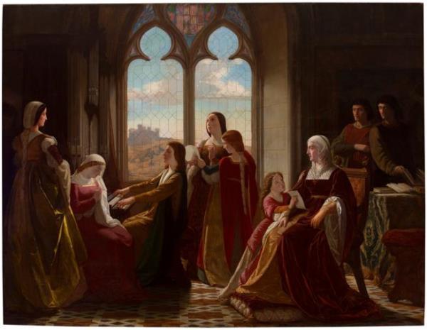 Isidoro Santos Lozano - Isabel la Católica presidiendo la educación de sus hijos, 1864.