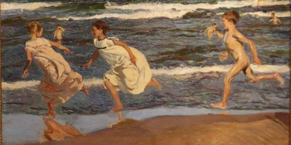 Joaquín Sorolla - Corriendo por la playa. Valencia, 1908. Óleo sobre lienzo. 90 x 166,5 cm. Museo de Bellas Artes de Asturias, procedente de la Colección Pedro Masaveu.