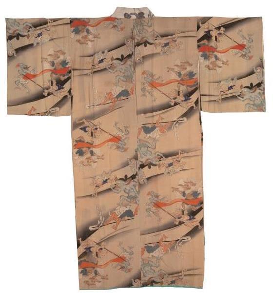 Kimono con motivos del desfile nocturno de los cien demonios. Periodo Edo en adelante, siglos XIX-XX. Miyoshi City.