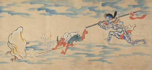Rollo ilustrado del desfile nocturno de los cien demonios (detalle). Periodo Edo, siglo XIX. Miyoshi City.