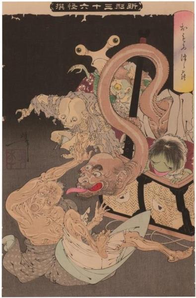 Tukioka Yoshitoshi (1839-1892) - Un cesto pesado, 1892 (selección de nuevas visiones de 36 episodios sobrenaturales). Miyoshi City.