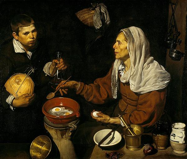 Diego Velázquez – Vieja friendo huevos, 1618. Óleo sobre lienzo. 100,5 cm × 119,5 cm. Galería nacional de Escocia, Edimburgo.