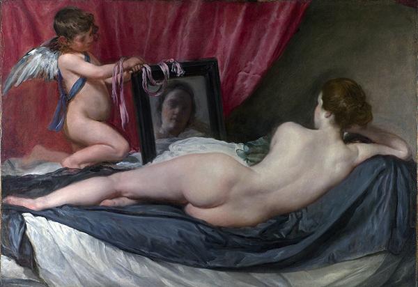Diego Velázquez – Venus del espejo, hacia 1647-1651. Óleo sobre lienzo. 122 cm × 177 cm. National Gallery, Londres.