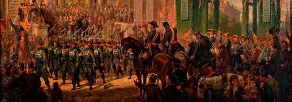 Joaquín Sigüenza Chavarrieta (atrib.) - Desfile militar ante el Congreso de los Diputados con motivo del triunfo de la Gloriosa. ca. 1868-1872. Óleo sobre lienzo (detalle).