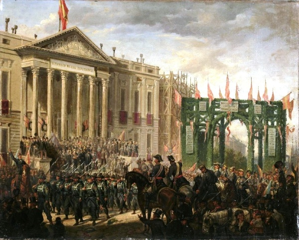 Joaquín Sigüenza Chavarrieta (atrib.) - Desfile militar ante el Congreso de los Diputados con motivo del triunfo de la Gloriosa. ca. 1868-1872. Óleo sobre lienzo