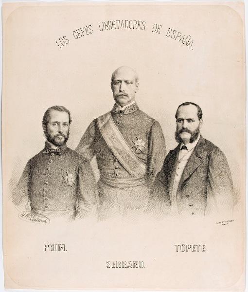 José María Contreras (D y L) y Julio Donon (EL). Los jefes libertadores de España, ca. 1868. Litografía.