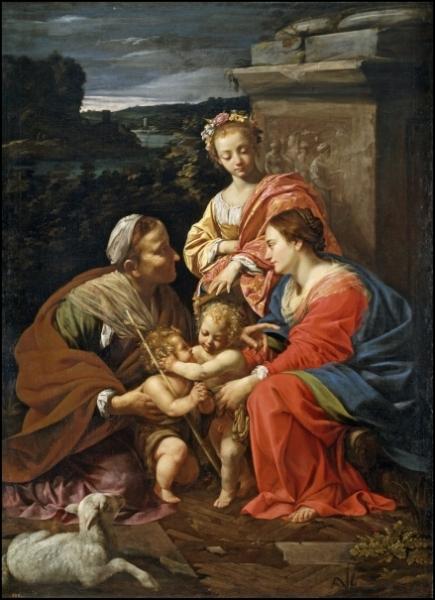 Simon Vouet - La sagrada familia con Santa Isabel, San Juan Bautista y Santa Catalina. 1624 – 1626. Óleo sobre lienzo. 182 x 130 cm. Museo Nacional del Prado.