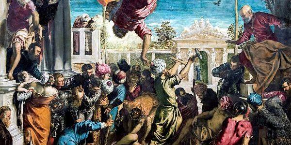 Tintoretto - San Marcos liberando al esclavo (Il miracolo di San Marco). 1548. Óleo sobre lienzo. 416 cm × 544 cm. Galería de la Academia, Venecia, Italia.