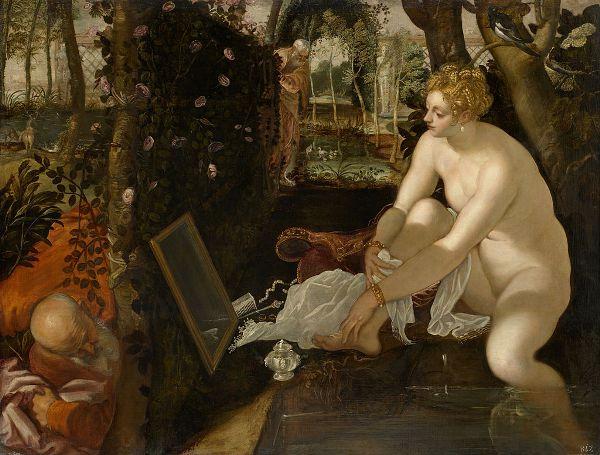 Tintoretto - Susana y los viejos (Susanna e i vecchioni). 1560 - 1565. Óleo sobre lienzo. 147 cm × 194 cm. Museo de Historia del Arte, Viena, Austria.