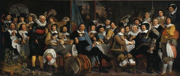 Bartholomeus van der Helst - La guardia cívica de Ámsterdam celebra la Paz de Münster, 1648. Rijksmuseum, Ámsterdam.