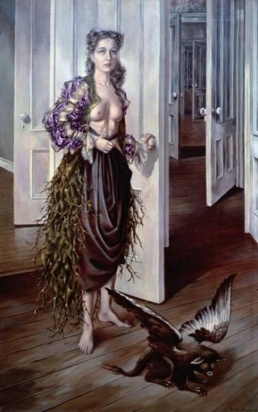 Dorothea Tanning - Birthday [Cumpleaños], 1942. Óleo sobre lienzo. 102.2 × 64.8 cm. Philadephia Museum of Art © VEGAP, Madrid, 2018.
