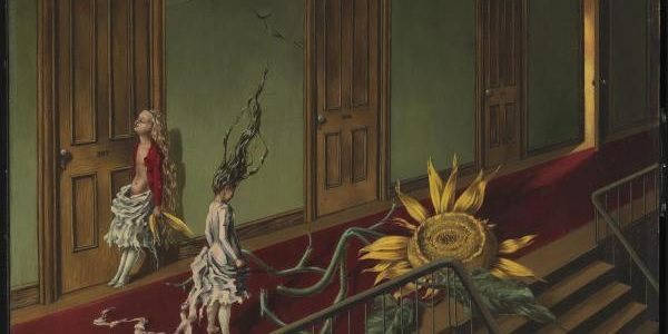 Dorothea Tanning - Eine Kleine Nachtmusik (Pequeña Serenata Nocturna), 1943. Óleo sobre lienzo. 40,7 x 61 cm. Tate Modern, Londres. Purchased with assistance from the Art Fund and the American Fund for the Tate Gallery 1997 http://www.tate.org.uk/art/work/T07346.