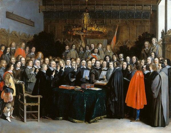 Gerard ter Borch - La ratificación del Tratado de Münster en 1648, 1648. Rijksmuseum, Ámsterdam.