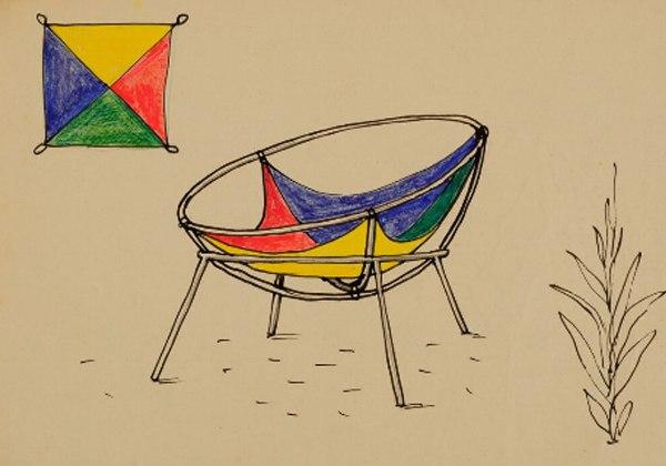 Lina Bo Bardi - Proyecto para una versión del sillón Bardi´s Bowl, 1951. Instituto Bardi.