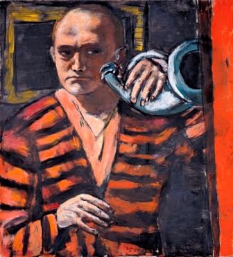 Max Beckmann - Autorretrato con corneta, 1938. Óleo sobre lienzo. 110 x 101 cm. Neue Galerie, Nueva York, y colección privada. © Max Beckmann, VEGAP, Madrid.
