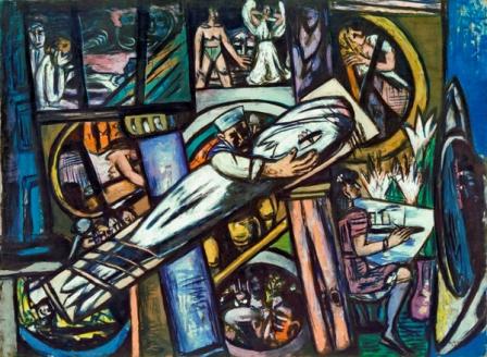 Max Beckmann - Camarotes, 1948. Óleo sobre lienzo, 139,5 × 190 cm. Kunstsammlung Nordrhein-Westfalen, Düsseldorf. © Max Beckmann, VEGAP, Madrid.