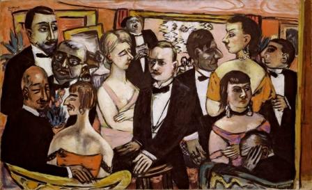 Max Beckmann - Sociedad, París, 1931. Óleo sobre lienzo, 109,2 × 175,6 cm. Solomon R. Guggenheim Museum, Nueva York. © Max Beckmann, VEGAP, Madrid.