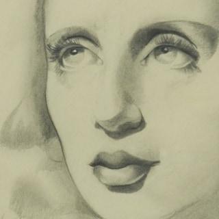 Tamara de Lempicka - Autorretrato, 1939. Lápiz sobre papel. © Tamara Art Heritage / ADAGP, Paris/ VEGAP, Madrid, 2018.