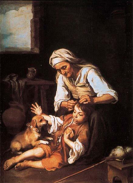 Bartolomé Esteban Murillo – Vieja espulgando a un niño, 1670 – 1675. Óleo sobre lienzo. 148 x 133 cm. Alte Pinakothek, Múnich, Alemania.