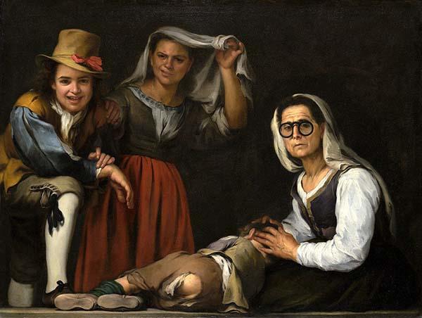Bartolomé Esteban Murillo - Cuatro figuras en un escalón, 1655–1660. Pintura al aceite. 110 x 144 cm. Kimbell Art Museum, Fort Worth.