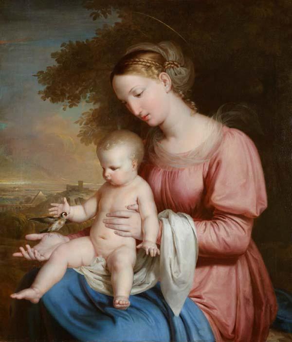 Rafael Tegeo Díaz - Virgen del jilguero, 1825-1828. Óleo sobre lienzo. Madrid, Museo Nacional del Romanticismo.