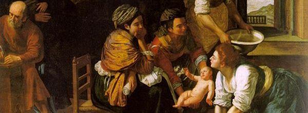 Artemisia Gentileschi - Nacimiento de San Juan Bautista, hacia 1635. Óleo sobre lienzo, 184 x 258 cm. Museo Nacional del Prado, Madrid. (Detalle).