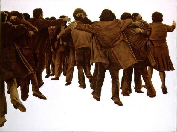 Juan Genovés - El abrazo, 1976 acrílico-lienzo, 151x201cm. Una obra que se ha convertido en todo un símbolo de la Transición, y que actualmente se encuentra en el Palacio de Congresos.