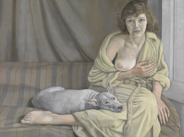 Lucian Freud - Muchacha con perro blanco, 1950-51.