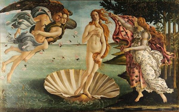 Sandro Botticelli – El nacimiento de Venus (La nascita di Venere), 1482–1485. Temple sobre lienzo. 278,5 x 172,5 cm. Galería Uffizi, Florencia, Italia.