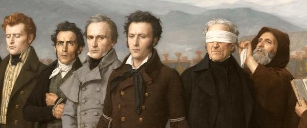 Antonio Gisbert – Fusilamiento de Torrijos y sus compañeros en las playas de Málaga, 1888. Óleo sobre lienzo. 390 x 601 cm. Museo del Prado. Detalle.