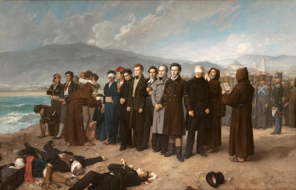 Antonio Gisbert – Fusilamiento de Torrijos y sus compañeros en las playas de Málaga, 1888. Óleo sobre lienzo. 390 x 601 cm. Museo del Prado.