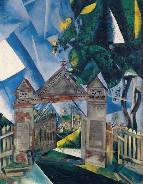 Marc Chagall – Las puertas del cementerio, 1917. Óleo sobre lienzo. 87 x 68.6 cm. Colección privada.